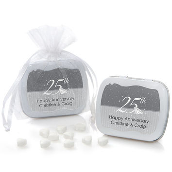 25th Anniversary - Personalized Wedding Anniversary Mint Tin Favors