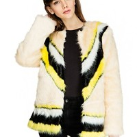 Chevron Stripe Faux Fur Coat