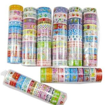 10 rolls of kawaii lovely deco cartoon tape scrapbooking adhesive paper sticker (Size: One Size, Color: Multicolor)