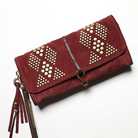 Ella Moss Womens Diamond Suede Clutch
