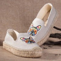 Soludos Women Thick-bottomed Beige Bulldog embroidered straw shoes