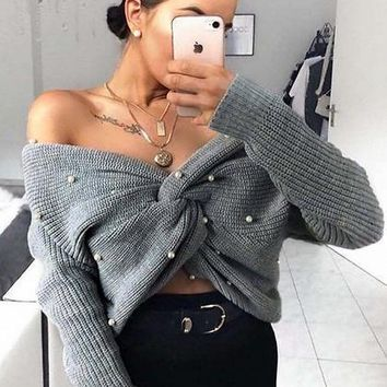 Gray Beaded Detail Open Back Long Sleeve Knit Sweater