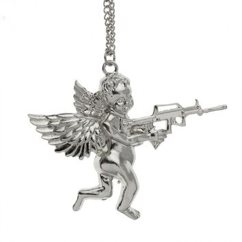 Gold Angel Baby carry Gun Stuff Pendant Necklace