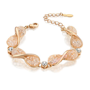 18K Rose Gold Plated Chain Bracelet Stardust Mesh Net Crystals Fashion Jewelry Gift B986
