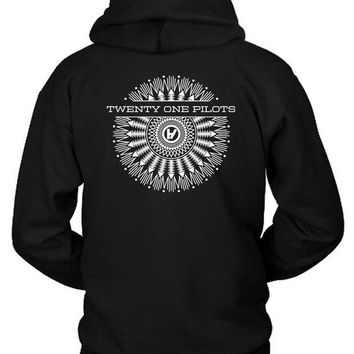 DCCKG72 Twenty One Pilots Black And White Radial Hoodie Two Sided