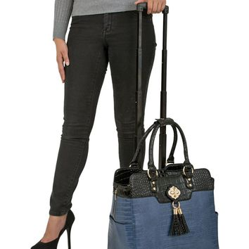 """TRUE BLUE"" Alligator Rolling iPad, Tablet or Laptop Tote Carryall Bag"