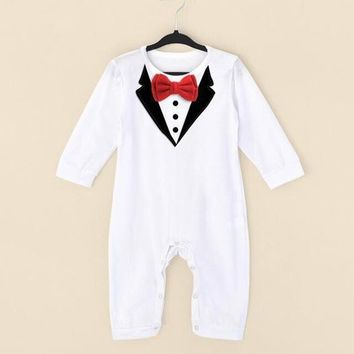 newborn baby rompers clothing baby boys clothes bow tie gentleman  toddler jumpsuit Baby Coverall