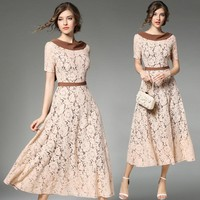 Luxious good lace long dress woman 2017 summer short sleeve fit flare floor dresses female vintage slim waist maxi dress party