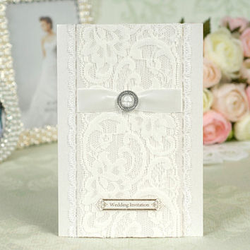 50pcslot pearl paragraph fashion fancy white lace wedding invitations cards with ribbon envelope customize