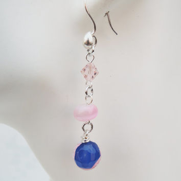 Light Pink, Blue, and Silver Dangle Earrings Handmade by Lindsey - Beads from Siesta Key, Florida - Agate Beads - Light Pink and Light Blue