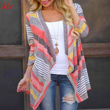 Long Cardigan Female Stylish Collarless Long Sleeve Cardigan Tribal Print Asymmetrical Cardigan