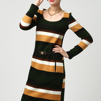 Womens Sweater Dress - Mini Dress - Cute Long Sleeve Dress - Color block Dress - Mini Sweater Dress (1110)