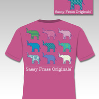 Sassy Frass Originals Preppy Elephants Tusk Aztec Paisley Comfort Colors Girlie Bright T Shirt