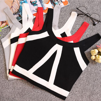 Tank Crop Tops Female Bodycon Sleeveless Short Geometric T shirts
