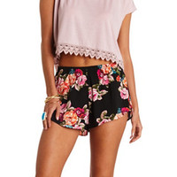 FLOWY FLORAL PRINT HIGH-WAISTED SHORTS