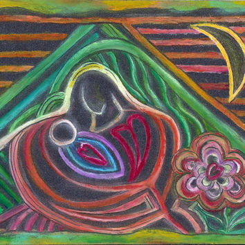 MOTHER AND BABY Abstract Original Art, Oil Pastel Drawing on Black Paper, Flowers, Christian Art, Mary and Jesus, Art by Artist