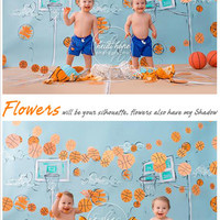 5ft*6.5ft Newborn Photography Background Blue Wall with Basketballs for Boys Vinyl Photography Backdrops for Studio Baby Photos