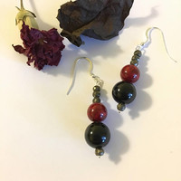 Pyrite Onyx and Riverstone Earrings Handmade Red Black and Silver Gemstone Jewelry Gothic Minimalist Style Earrings Modern Holiday Jewellery