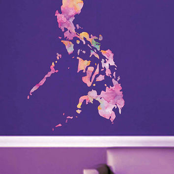 kcik1916 Full Color Wall decal Watercolor Philippines map Living room bedroom