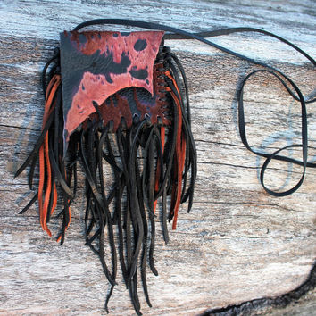 Brown and Black Medicine Bag, Goat Leather with Hair on Hide, Fur Fringed Necklace Pouch
