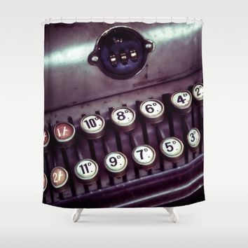 Vintage Cash Register Shower Curtain by Vicki Field