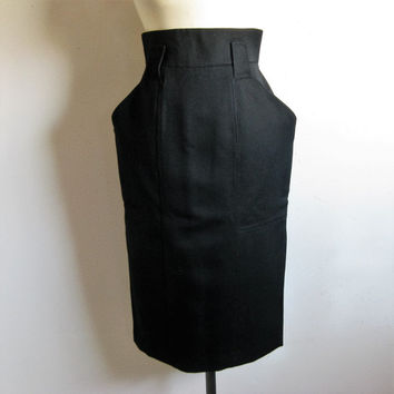 Vintage 1980s Designer Skirt Jasper Conran Black Wool Pencil Skirt High Waist 12UK