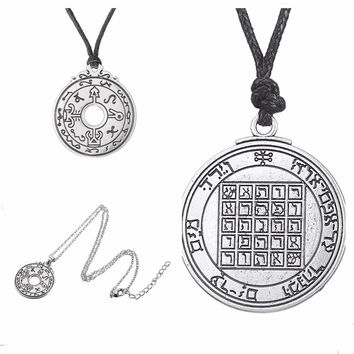 Pentacle of Saturn Talisman Key of Solomon Seal Pendant Kabbalah Wiccan Jewelry Male Long Necklace full metal alchemist