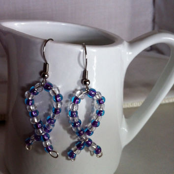 Purple Awareness Ribbon Earrings-Alzheimer's-Cystic Fibrosis-Lupus-Child Abuse-Drug Abuse-March of Dimes