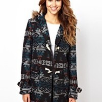 Glamorous Aztek Coat With Faux Fur Hood at asos.com