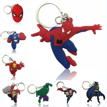 8pcs Marvel Avenger Keychain Cartoon PVC Charm Pendant Keyring Key Cover Key Chain Cover Kids Gift Party Favors Jewelry