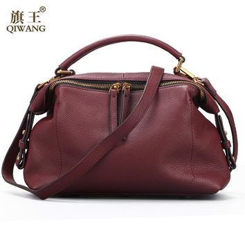 Qiwang 2017 Casual Tote Women Shoulder Bags 100% Genuine Leather Women Bags Designer Brand Female Handbags Hobo Crossbody Bags