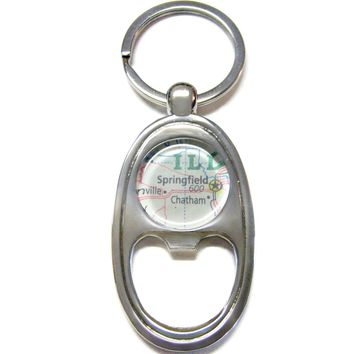 Springfield Illinois Map Bottle Opener Key Chain