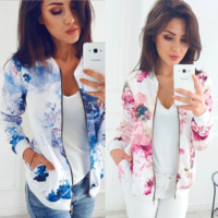 Painted Floral Zip Up - Fashion Ladies Women Long Sleeve Zipper Coat Jacket Short Coat Casual Outerwear
