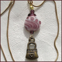Dangling Glass Bead Pendant, Handmade Lampwork  Pendant, Pink, White  Drop Shape Glass Bead Pendant OOAK