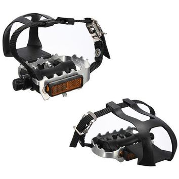 Cycling Fixie Road Mountain Bike Bicycle Pedals Toe Clips Straps