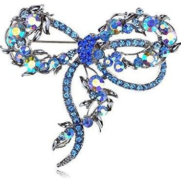 Alilang Sapphire Capri Blue Colorful Crystal Rhinestone Dragonfly Bug Design Pin Brooch