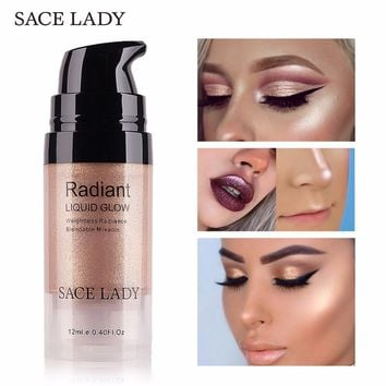 SACE LADY Illuminator Makeup Highlighter Cream Face Brighten Professional Shimmer Make Up Liquid Glow Kit Beauty Brand Cosmetic