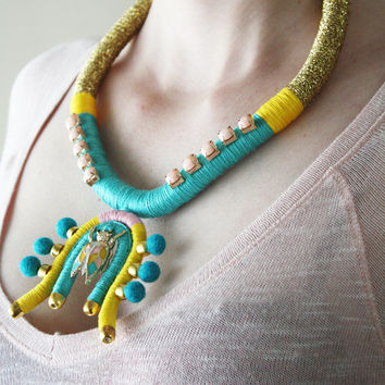 High Fashion Jewelry, Rope Necklace, Beetle Necklace, Wrapped Necklace, Rhinestone Jewelry, Blue, Yellow, Pink, Gold