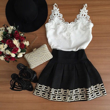Lace V-neck Patchwork A-line Short Dress