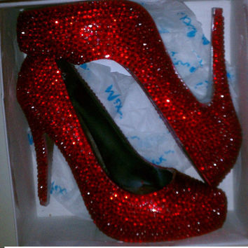 Ruby Red Dorothy Crystal Sparkle Shoes High Heels by sillydi