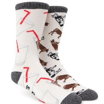 On The Byas Cow And Milk Crew Socks - Mens Socks - White - One