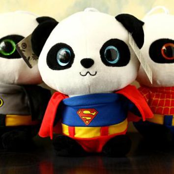 Free Shipping 20 CM Soft Batman Panda Stuffed Toys Cute Plush Animals Toys Best Christmas Gifts Kids Toys For Children