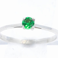 3mm Emerald Round Ring .925 Sterling Silver Rhodium Finish White Gold Quality