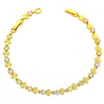 Gold Layered 03.60.0024 Fancy Bracelet, Leaf Design, with Multicolor Cubic Zirconia, Polished Finish, Gold Tone