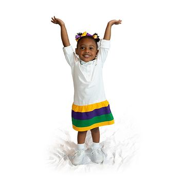 Mardi Gras Little Girls White Polo Dress