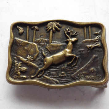 Small 1980 Jumping Buck Deer Solid Brass Belt Buckle BTS Brassworks Vintage