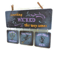 "Hand Painted Halloween Sign ""Something Wicked..."""