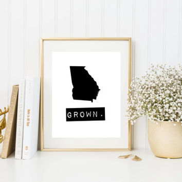 Georgia Grown Home State Print, Custom map, Personalized map, Printable, Digital Download, hometown, typewriter, stamp, State typography