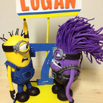 Despicable me  minions centerpiece cake topper  Purple minion