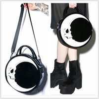 Harajuku dark skull light lightning /moon Messenger bag handbag YV7034